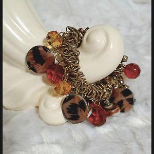 Goldtone•brown & animal print,beads & crystals💎